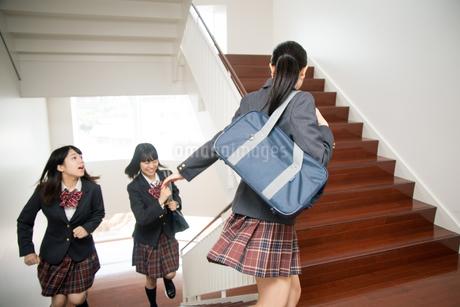 階段を駆け上がる3人の女子高校生の写真素材 [FYI01220866]