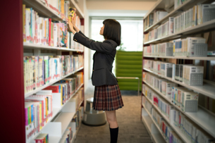 図書室で本を選ぶ女子高校生の写真素材 [FYI01220875]