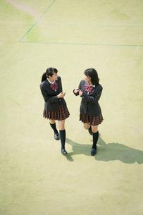 校庭を歩く女子高校生の写真素材 [FYI01220898]