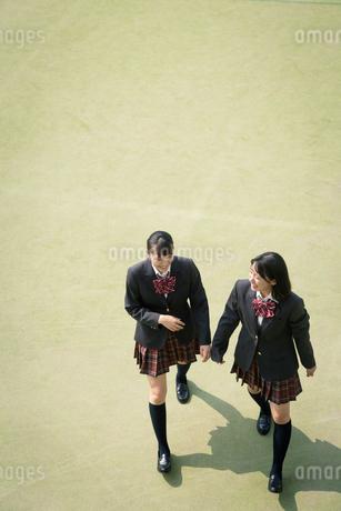 校庭を歩く女子高校生の写真素材 [FYI01220908]