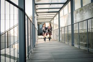 校内を歩く女子高校生の写真素材 [FYI01220936]