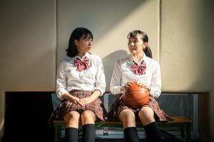 体育館のベンチに座る女子高校生の写真素材 [FYI01220945]