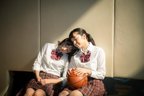 体育館のベンチに座る女子高校生の写真素材 [FYI01220946]