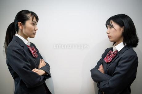 対峙する女子高校生の写真素材 [FYI01220951]