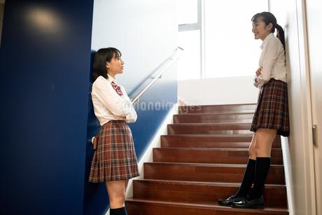 階段で会話する2人の女子高校生の写真素材 [FYI01220959]