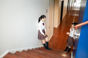 階段で会話する2人の女子高校生の写真素材 [FYI01220961]