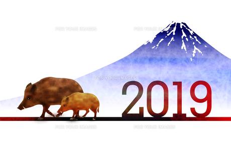 年賀状2019のイラスト素材 [FYI01221275]
