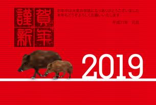 年賀状2019のイラスト素材 [FYI01221287]
