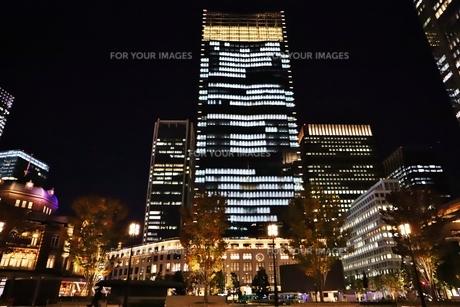 東京駅界隈の紅葉とライトアップの写真素材 [FYI01221717]