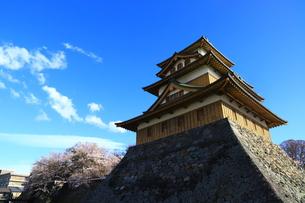 諏訪市高島城と桜の写真素材 [FYI01222185]