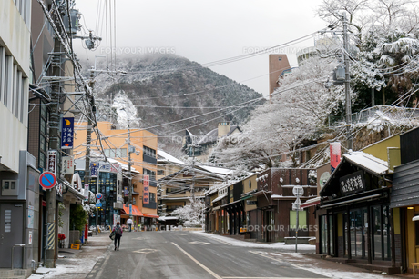 有馬温泉 温泉街 雪景色の写真素材 [FYI01222875]