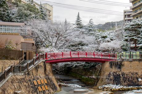 有馬温泉 ねね橋 雪景色の写真素材 [FYI01222879]