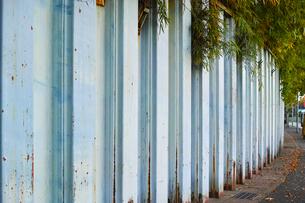 歩道に沿った鋼矢板の土留の写真素材 [FYI01223060]