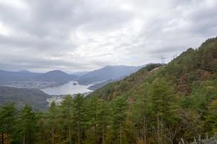 秋の木と空と湖の写真素材 [FYI01223873]