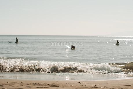 波とサーファーの写真素材 [FYI01224018]
