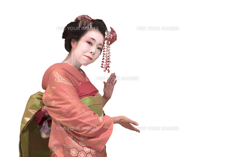 白い背景に赤い着物を着た日本の可愛い芸者あるいは舞子の女性が何かを紹介している姿の写真素材 [FYI01226823]