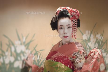 赤い着物を着た日本の可愛い芸者あるいは舞子の女の子が花模様の飾りをした壁の前に立っている姿の写真素材 [FYI01226825]