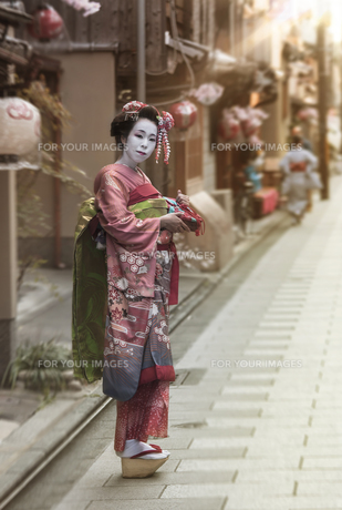 夕日の光に照らされた祇園町の石畳の道に赤い着物を着た日本の可愛い芸者あるいは舞子の歩いている全身姿の写真素材 [FYI01226826]
