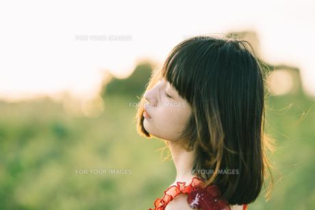 女の子の横顔の写真素材 [FYI01226890]