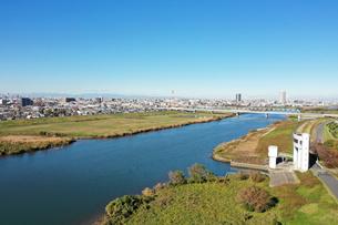 江戸川上空から見た風景の写真素材 [FYI01227230]