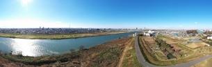 江戸川上空のパのラマ写真の写真素材 [FYI01227289]