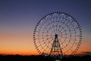 夕暮れ時の葛西臨海公園の観覧車の写真素材 [FYI01227826]