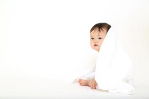白背景の前でバスタオルを被り遊ぶ女の子の赤ちゃん。乳幼児、健康、元気、成長、育児、幸せイメージの写真素材 [FYI01227901]