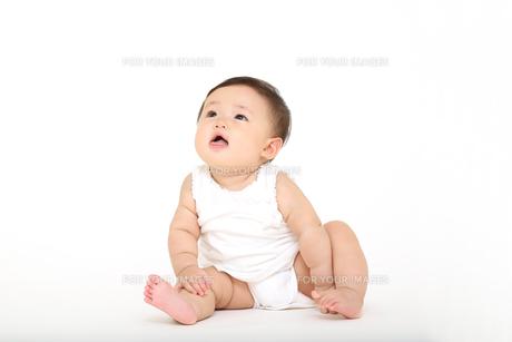 屋内白バックでお座りする新生児の赤ちゃん。新生児、赤ちゃん、育児、健康、愛、幸せイメージの写真素材 [FYI01227917]