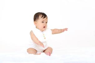屋内白バックでお座りする新生児の赤ちゃん。新生児、赤ちゃん、育児、健康、愛、幸せイメージの写真素材 [FYI01227929]