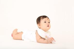 白バックでハイハイする1人の女の子の赤ちゃんの写真素材 [FYI01227936]