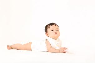白バックでハイハイする1人の女の子の赤ちゃんの写真素材 [FYI01227937]