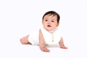 屋内白バックでハイハイする新生児の赤ちゃん。新生児、赤ちゃん、育児、健康、愛、幸せイメージの写真素材 [FYI01227966]