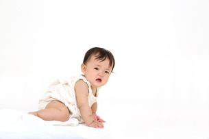 屋内白バックでお座りする新生児の赤ちゃん。新生児、赤ちゃん、育児、健康、愛、幸せイメージの写真素材 [FYI01227977]