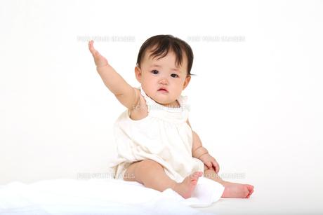 屋内白バックでお座りする新生児の赤ちゃん。新生児、赤ちゃん、育児、健康、愛、幸せイメージの写真素材 [FYI01227980]