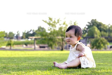 屋外の緑地でお座りする女の子の赤ちゃん。新生児、育児、健康、成長イメージの写真素材 [FYI01227999]