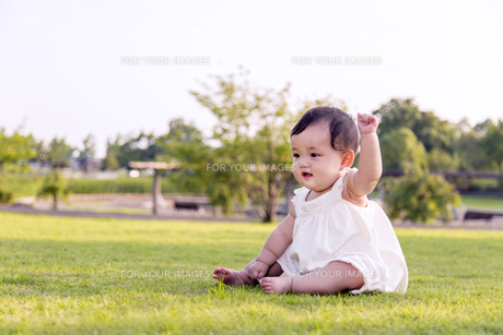 屋外の緑地でお座りする女の子の赤ちゃん。新生児、育児、健康、成長イメージの写真素材 [FYI01228000]
