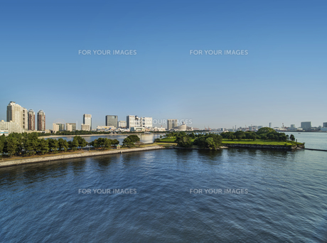 レインボーブリッジのプロムナードから見た台場公園の芝生広場と海浜公園の海揃いのビル群の風景写真。の写真素材 [FYI01228528]