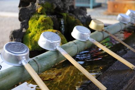 寺の境内の手水場(ちょうずば) お清めの場所の写真素材 [FYI01229147]