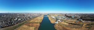 江戸川上空のパノラマ写真の写真素材 [FYI01230102]