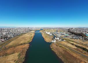 江戸川上空のパノラマ写真の写真素材 [FYI01230103]
