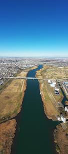 江戸川上空のパノラマ写真の写真素材 [FYI01230104]