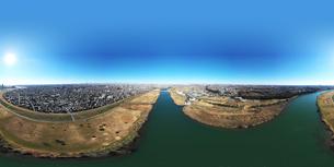 江戸川上空のパノラマ写真の写真素材 [FYI01230105]