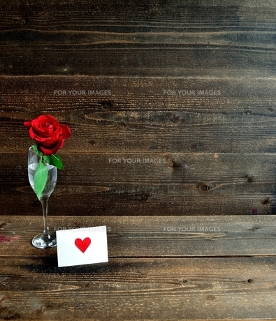 シャンパングラスにいけた一輪の赤い薔薇とメッセージカードの写真素材 [FYI01232023]