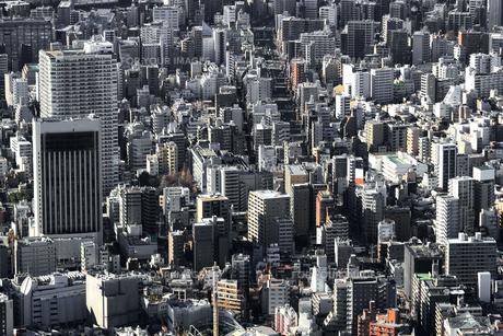 空から見た東京の住宅街の写真素材 [FYI01232836]