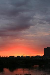 多摩川に架かる鉄橋と朝焼けの風景の写真素材 [FYI01232866]
