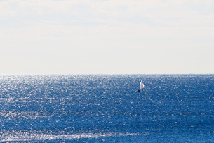 広大な海とヨットの写真素材 [FYI01232888]
