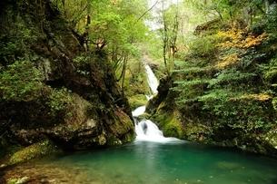 横谷峡四つの滝の鶏鳴滝の下流の写真素材 [FYI01233553]