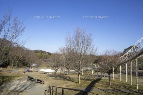 空と公園の滑り台の写真素材 [FYI01234435]