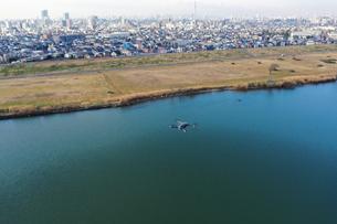 江戸川上空のドローンの写真素材 [FYI01234560]