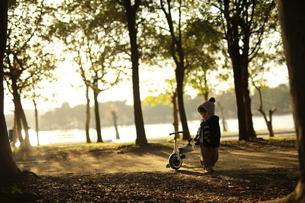 夕暮れと三輪車と子供の写真素材 [FYI01235123]